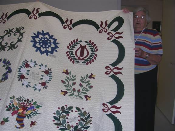 Anne Connery's with her first Baltimore Album Quilt